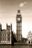 Vintage view of Big Ben clock tower London. Sepia toned.  Czarno-Białe Fototapeta