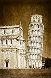 Leaning tower of Pisa vintage retro  Sepia Fototapeta