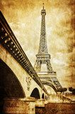 Eiffel tower vintage retro view from Seine river, Paris  Sepia Fototapeta