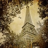 Eiffel tower and trees monochrome vintage  Sepia Fototapeta