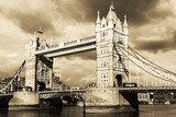 Vintage view of Tower Bridge, London. Sepia toned.  Fototapety Sepia Fototapeta