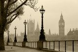 Big Ben & Houses of Parliament, London in fog  Sepia Fototapeta