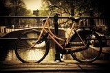 Amsterdam. Romantic canal bridge, bike  Sepia Fototapeta
