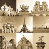 paris collage  Fototapety Sepia Fototapeta