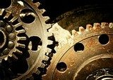 Mechanical gears close up, industrial background  Sepia Fototapeta