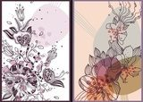 2 vector cards with hand  drawn flowers and plants  Draw Flower Fototapeta
