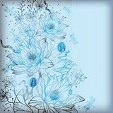 vector background with gentle hand drawn waterlilies  Draw Flower Fototapeta