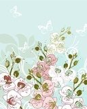 vector floral   background with blooming orchids  Draw Flower Fototapeta