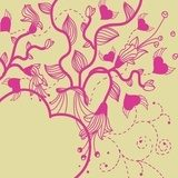 vector  floral  background with  fantasy pink  plants and hearts  Draw Flower Fototapeta