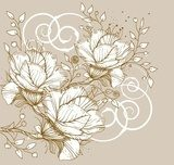 vector floral   background with blooming flowers and swirls  Draw Flower Fototapeta