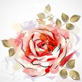 decorative composition with big grunge rose  Draw Flower Fototapeta
