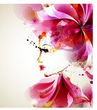 Beautiful fashion women with abstract hair and design elements  Abstrakcja Fototapeta