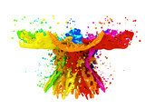 Colorful paint splashing isolated on white  Abstrakcja Fototapeta