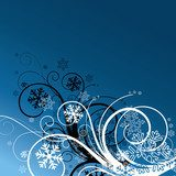 winter floral background with snowflakes  Abstrakcja Fototapeta