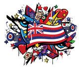 Hawaii Aloha state flag graffiti colorful pop art illustration  Fototapety Graffiti Fototapeta
