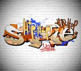 Graffiti wall background, urban art  Fototapety Graffiti Fototapeta