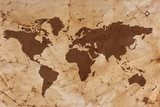 Old World map on creased and stained parchment paper  Fototapety Sepia Fototapeta
