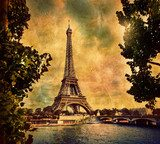 Eiffel Tower in Paris, Fance in retro style. Seine river  Fototapety Sepia Fototapeta