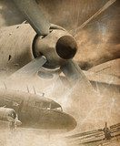 Retro aviation, vintage background  Sepia Fototapeta