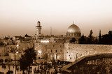 Western Wall and Dome of the Rock  Sepia Fototapeta