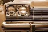 photo of retro car headlights  Sepia Fototapeta