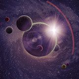 Planets over the nebulae in space  Kosmos Fototapeta