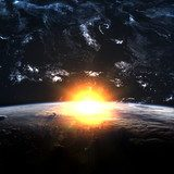 Earth with rising sun  Fototapety Kosmos Fototapeta