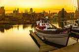 Gdansk - the historic Polish city at sunset.  Zachód Słońca Fototapeta