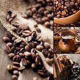 Collage of coffee still life  Kawa Fototapeta