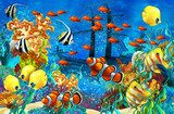 The coral reef - illustration for the children  Fototapety do Pokoju Dziewczynki Fototapeta