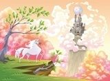 Unicorn and mythological landscape. Vector illustration  Fototapety do Pokoju Dziewczynki Fototapeta
