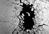 Abstract Illustration of Broken Glass isolated on black  Tekstury Fototapeta