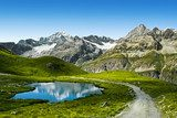Amazing view of touristic trail near the Matterhorn in the Alps  Krajobraz Fototapeta