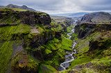 Thorsmork mountains canyon and river, near Skogar, Iceland  Krajobraz Fototapeta