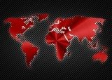 Cool red metalic map of the world on the carbon background  Mapa Świata Fototapeta