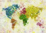world map painting  Mapa Świata Fototapeta