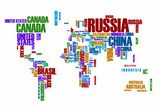 World map:the contours of the country consists of the words  Mapa Świata Fototapeta