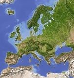 Shaded relief map of Europe, colored for vegetation.  Mapa Świata Fototapeta
