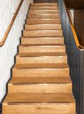 Wooden oak straight stairs  Schody Fototapeta