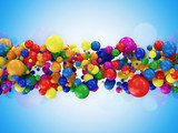 Abstract Illustration of Colorful Balls on blue background  Fototapety 3D Fototapeta