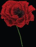 Bud of poppy assembled as a mosaic made of red and green pebbles  Fototapety Maki Fototapeta