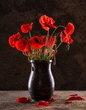 Bunch of poppies in vase  Fototapety Maki Fototapeta