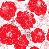 Seamless red pattern with floral background  Fototapety Maki Fototapeta