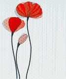 Greeting card with red poppies  Fototapety Maki Fototapeta