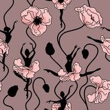 Seamless pattern of stylized dance of flowers  Maki Fototapeta