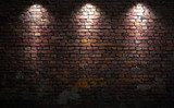 Brick wall with lights  Mur Fototapeta