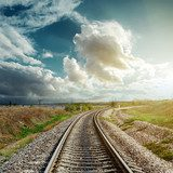 railroad goes to cloudy horizon  Niebo Fototapeta