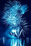 Blue firework in a night sky  Niebo Fototapeta
