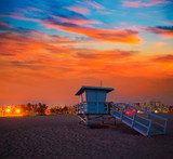 Santa Monica California sunset lifeguard tower  Niebo Fototapeta