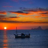 Ibiza sunset Es Vedra view and fisherboat formentera  Niebo Fototapeta